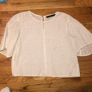 Zara white eyelet top